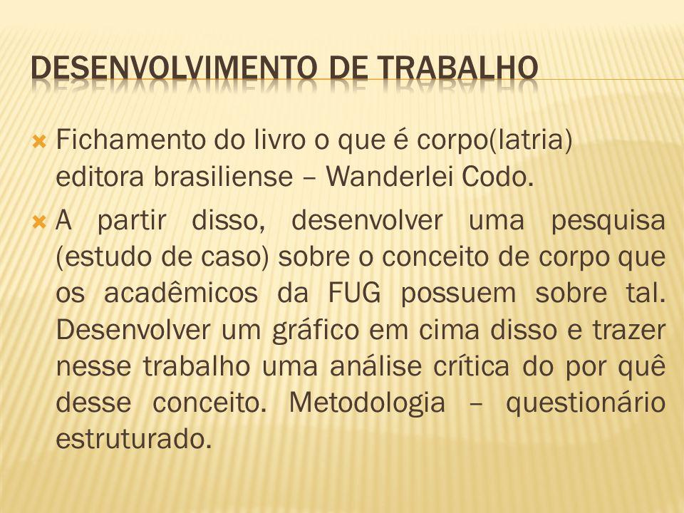 Fichamento do livro o que é corpo(latria) editora brasiliense – Wanderlei Codo. A partir disso, desenvolver uma pesquisa (estudo de caso) sobre o conc