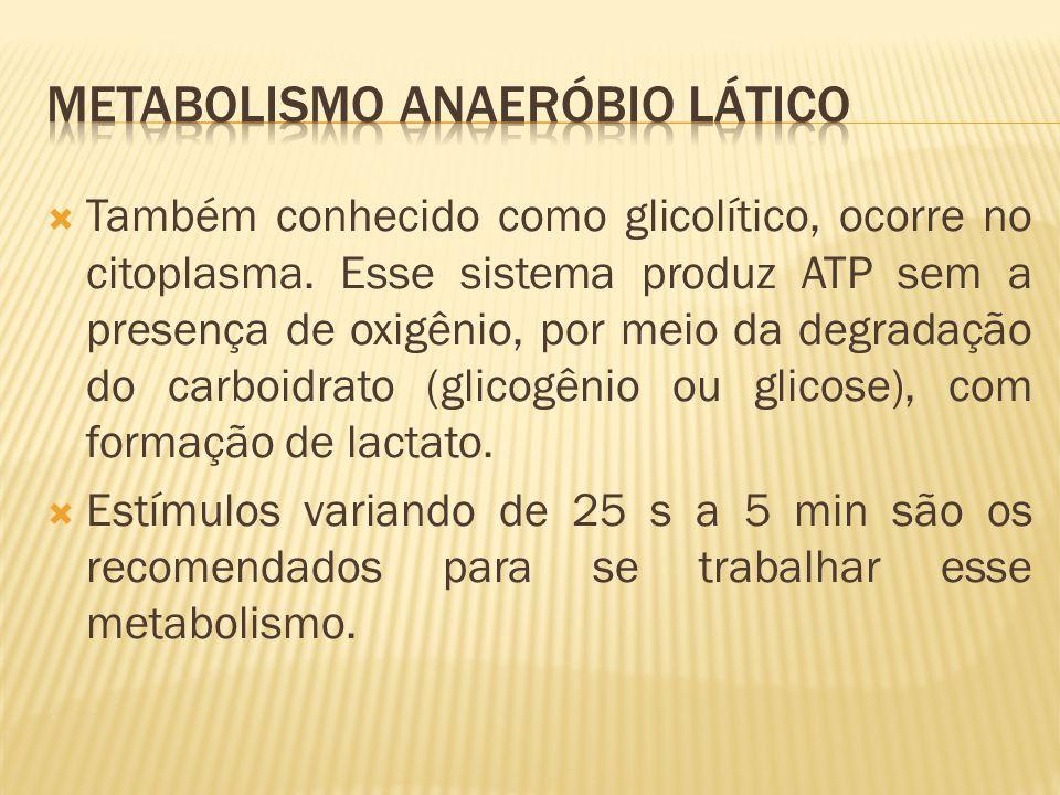 Também conhecido como glicolítico, ocorre no citoplasma. Esse sistema produz ATP sem a presença de oxigênio, por meio da degradação do carboidrato (gl