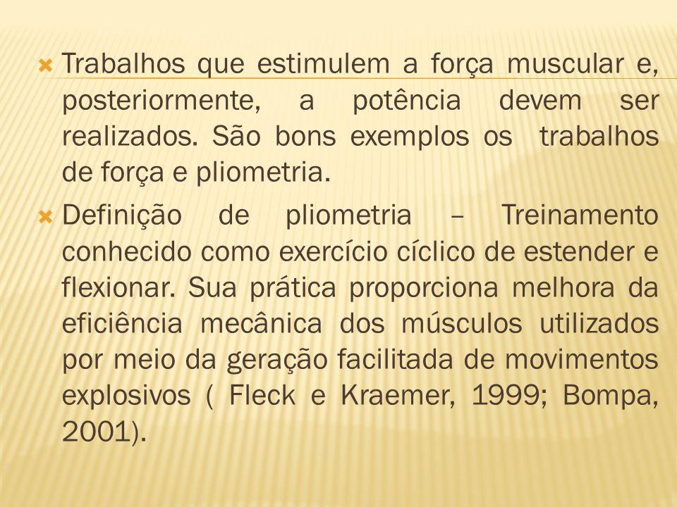Trabalhos que estimulem a força muscular e, posteriormente, a potência devem ser realizados. São bons exemplos os trabalhos de força e pliometria. Def