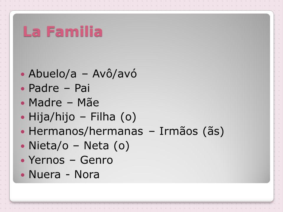 La Familia La Familia Abuelo/a – Avô/avó Padre – Pai Madre – Mãe Hija/hijo – Filha (o) Hermanos/hermanas – Irmãos (ãs) Nieta/o – Neta (o) Yernos – Genro Nuera - Nora