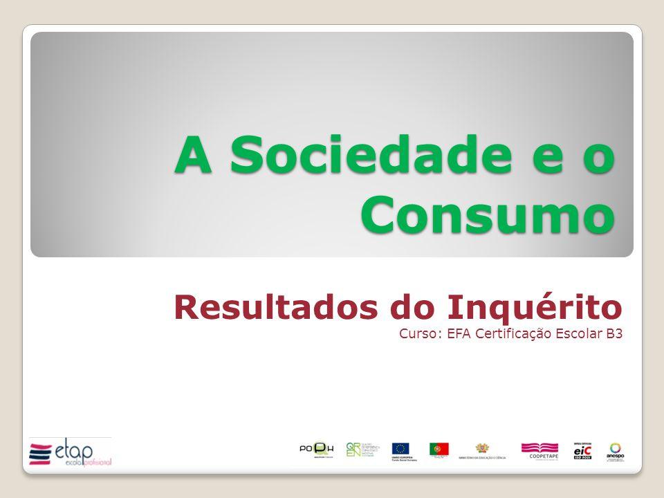 A Sociedade e o Consumo Resultados do Inquérito Curso: EFA Certificação Escolar B3