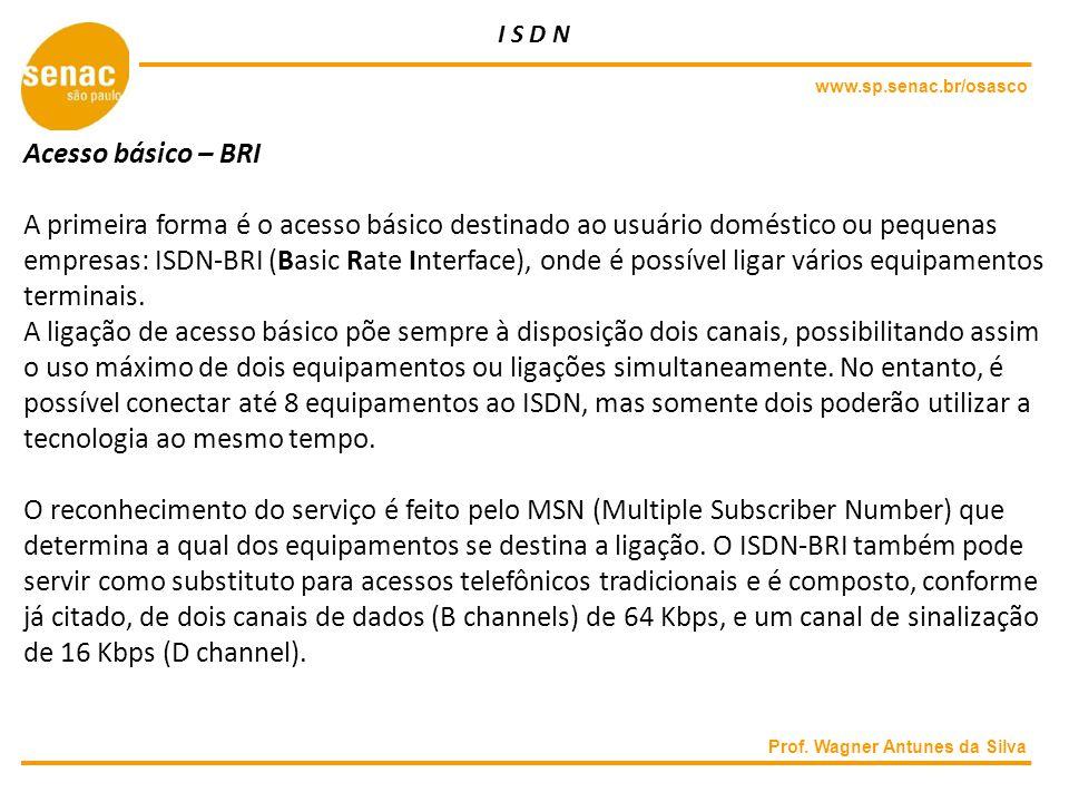www.sp.senac.br/osasco Prof. Wagner Antunes da Silva Acesso básico – BRI A primeira forma é o acesso básico destinado ao usuário doméstico ou pequenas