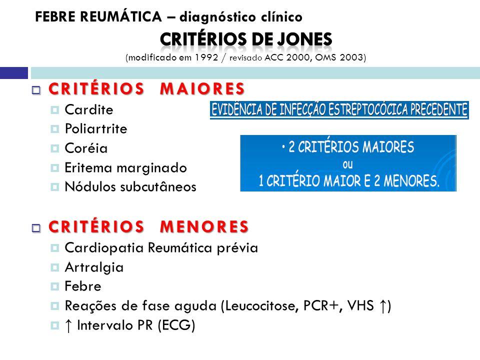 CRITÉRIOS MAIORES CRITÉRIOS MAIORES Cardite Poliartrite Coréia Eritema marginado Nódulos subcutâneos CRITÉRIOS MENORES CRITÉRIOS MENORES Cardiopatia Reumática prévia Artralgia Febre Reações de fase aguda (Leucocitose, PCR+, VHS ) Intervalo PR (ECG) FEBRE REUMÁTICA – diagnóstico clínico