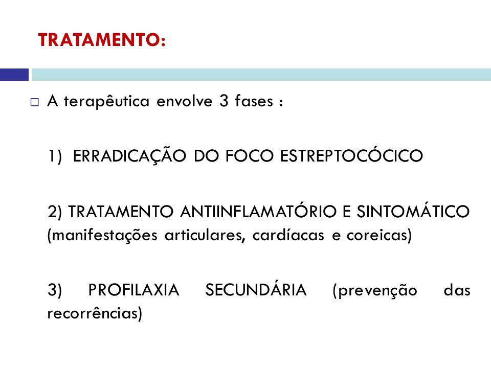 ERRADICAÇÃO DO FOCO ESTREPTOCÓCICO: Droga Dose Duração Penicilina benzatina(IM) 600.000UI(<25Kg) 1.200.000UI (>25Kg) ALÉRGICOS À PENICILINA: Eritromicina 40mg/kg/dia (máx- 1g) - 10 dias Azitromicina (>16a) 500mg (D1)/250mg - 5 dias DOSE ÚNICA