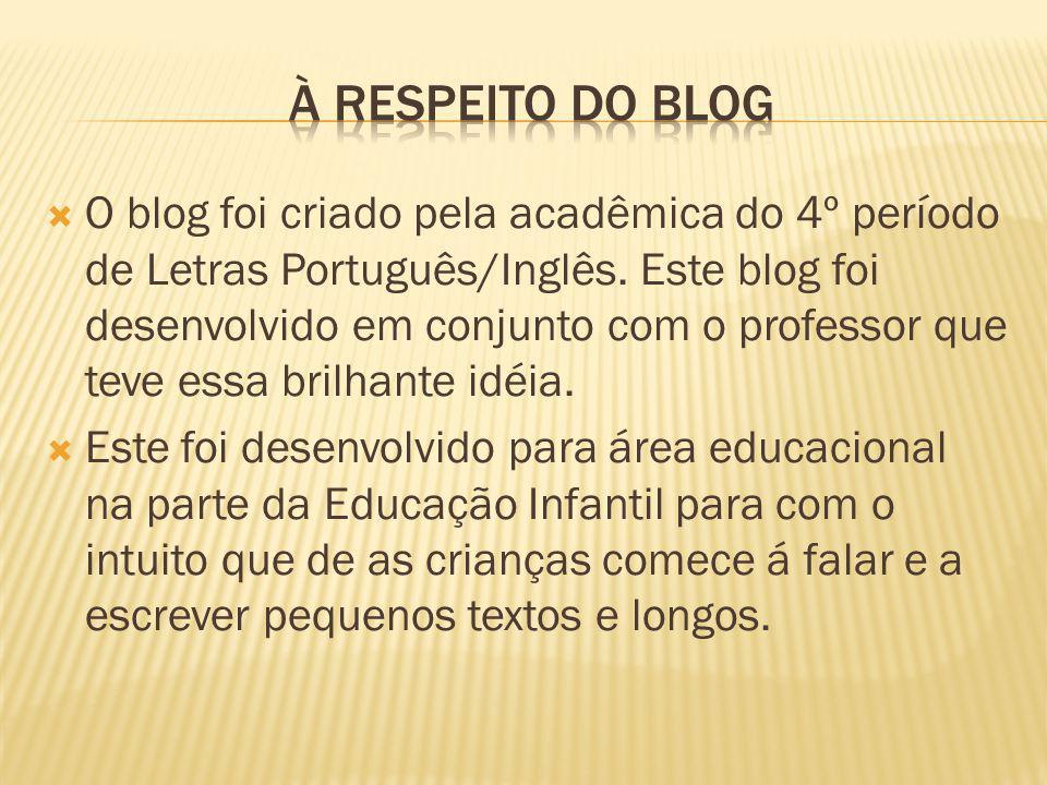 O blog foi criado pela acadêmica do 4º período de Letras Português/Inglês.
