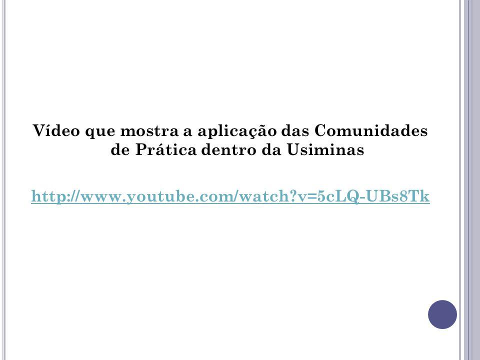Vídeo que mostra a aplicação das Comunidades de Prática dentro da Usiminas http://www.youtube.com/watch?v=5cLQ-UBs8Tk