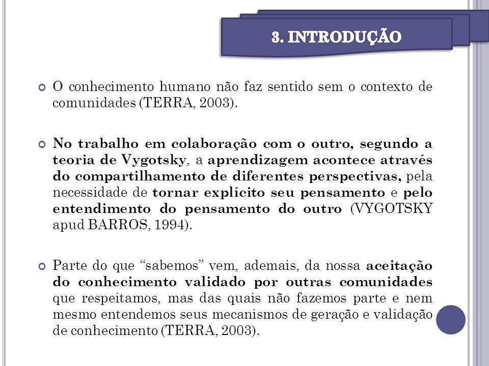 O conhecimento humano não faz sentido sem o contexto de comunidades (TERRA, 2003). No trabalho em colaboração com o outro, segundo a teoria de Vygotsk