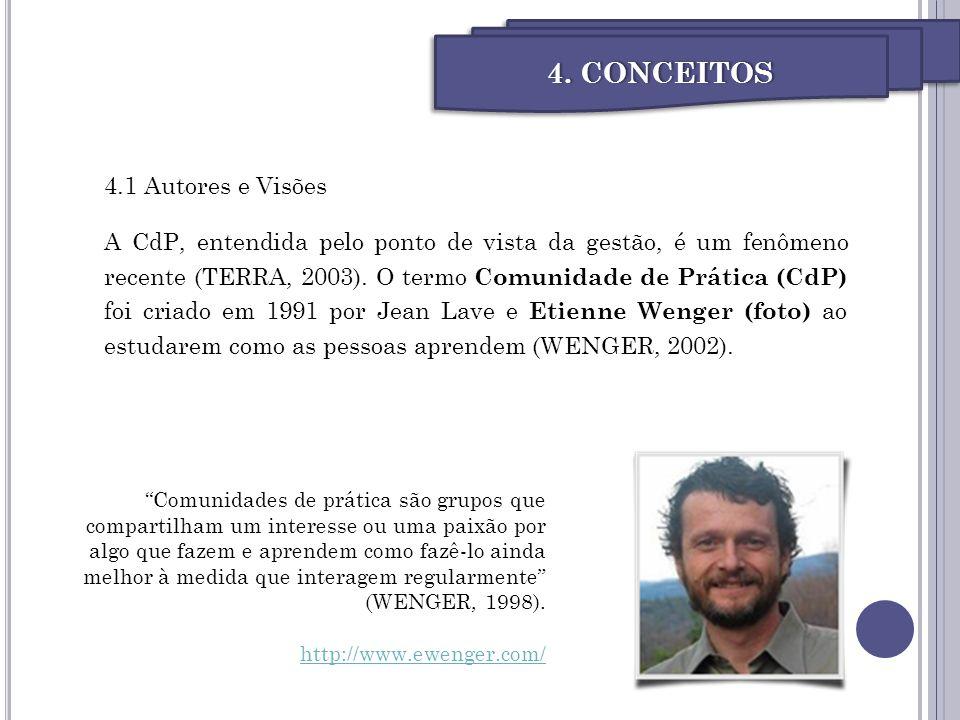 4.1 Autores e Visões A CdP, entendida pelo ponto de vista da gestão, é um fenômeno recente (TERRA, 2003). O termo Comunidade de Prática (CdP) foi cria