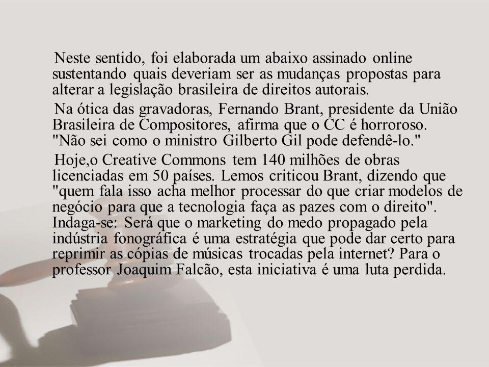 Neste sentido, foi elaborada um abaixo assinado online sustentando quais deveriam ser as mudanças propostas para alterar a legislação brasileira de direitos autorais.