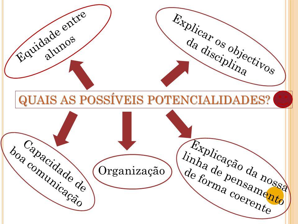 Equidade entre alunos Explicar os objectivos da disciplina Capacidade de boa comunicação Organização Explicação da nossa linha de pensamento de forma coerente QUAIS AS POSSÍVEIS POTENCIALIDADES