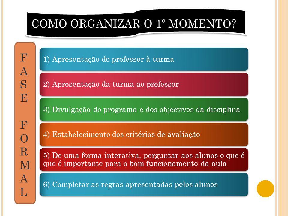1) Apresentação do professor à turma2) Apresentação da turma ao professor3) Divulgação do programa e dos objectivos da disciplina4) Estabelecimento do