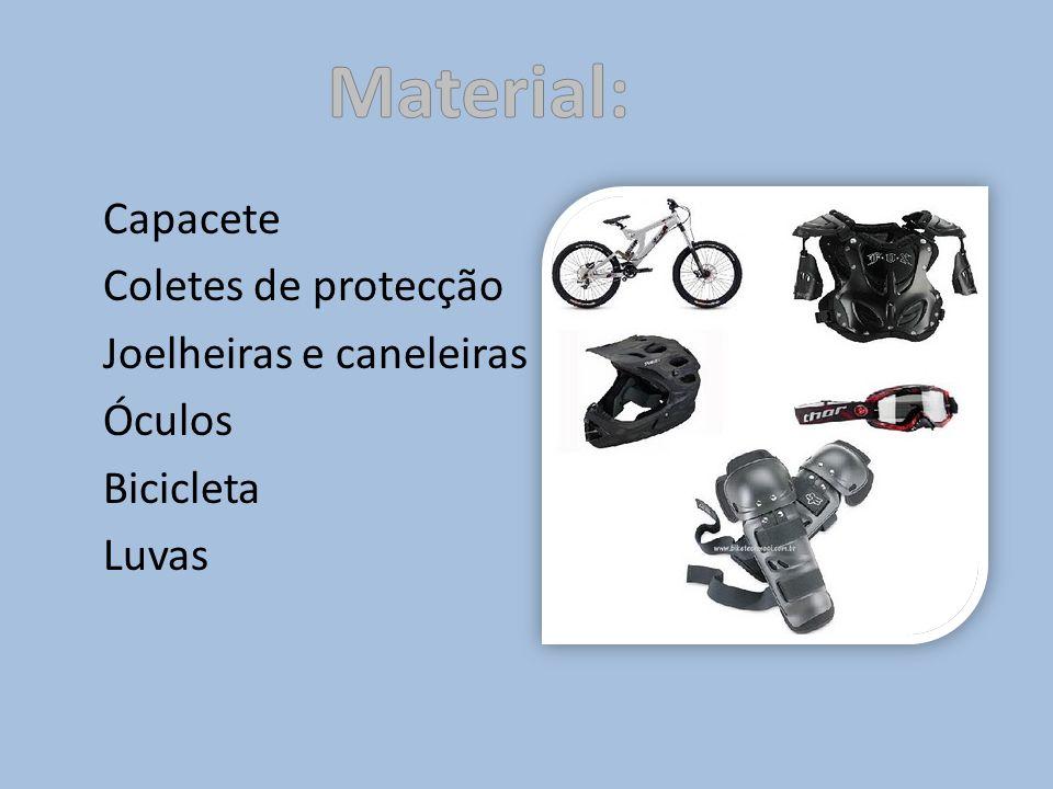 Capacete Coletes de protecção Joelheiras e caneleiras Óculos Bicicleta Luvas