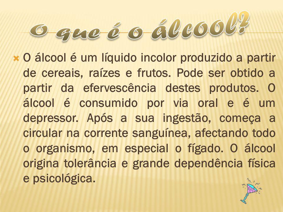 O álcool é um líquido incolor produzido a partir de cereais, raízes e frutos. Pode ser obtido a partir da efervescência destes produtos. O álcool é co