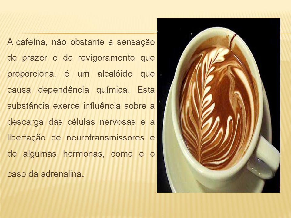 A cafeína, não obstante a sensação de prazer e de revigoramento que proporciona, é um alcalóide que causa dependência química. Esta substância exerce