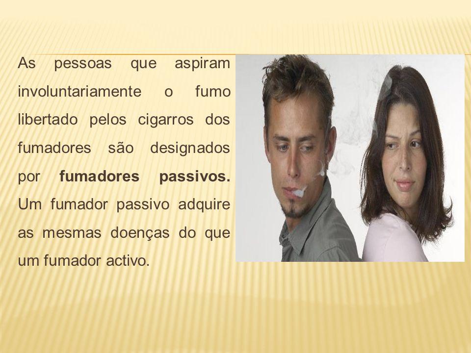 As pessoas que aspiram involuntariamente o fumo libertado pelos cigarros dos fumadores são designados por fumadores passivos. Um fumador passivo adqui
