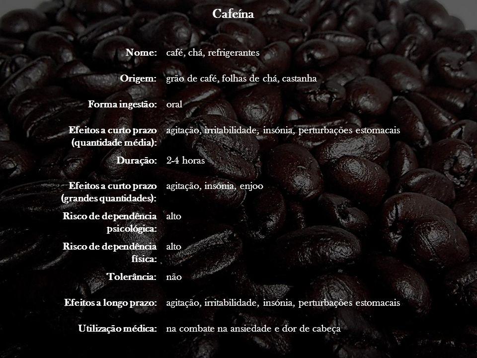 Cafeína Nome:café, chá, refrigerantes Origem:grão de café, folhas de chá, castanha Forma ingestão:oral Efeitos a curto prazo (quantidade média): agita