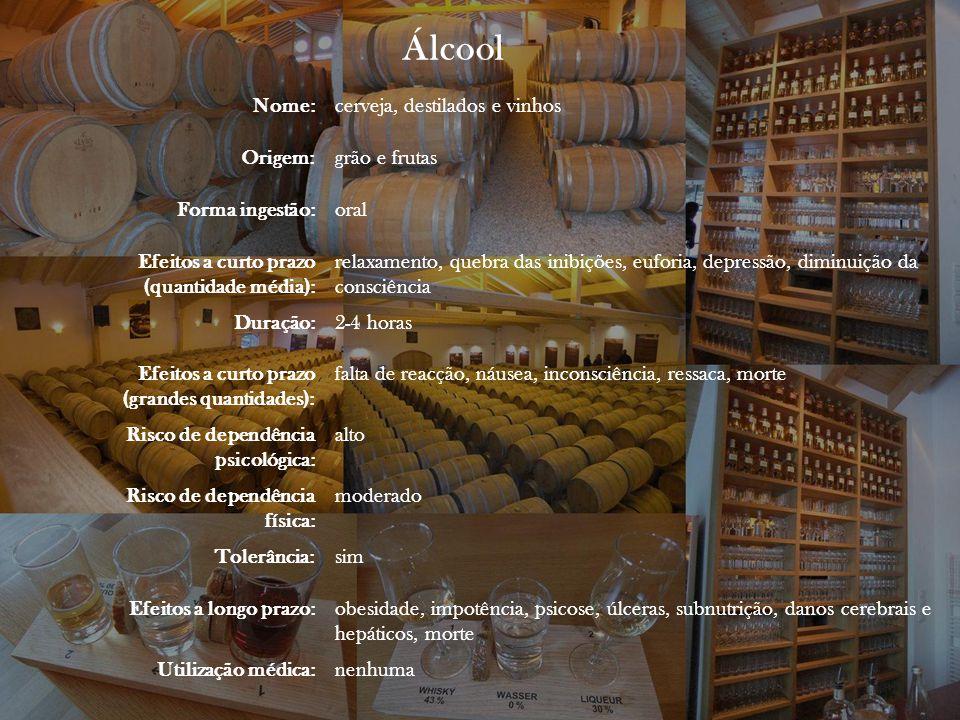 Nome:cerveja, destilados e vinhos Origem:grão e frutas Forma ingestão:oral Efeitos a curto prazo (quantidade média): relaxamento, quebra das inibições