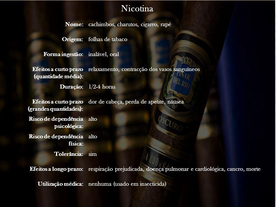 Nicotina Nome:cachimbos, charutos, cigarro, rapé Origem:folhas de tabaco Forma ingestão:inalável, oral Efeitos a curto prazo (quantidade média): relax