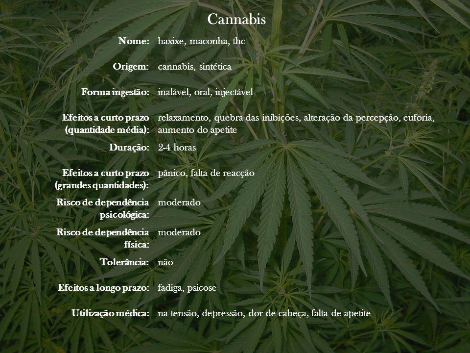 Cannabis Nome:haxixe, maconha, thc Origem:cannabis, sintética Forma ingestão:inalável, oral, injectável Efeitos a curto prazo (quantidade média): rela