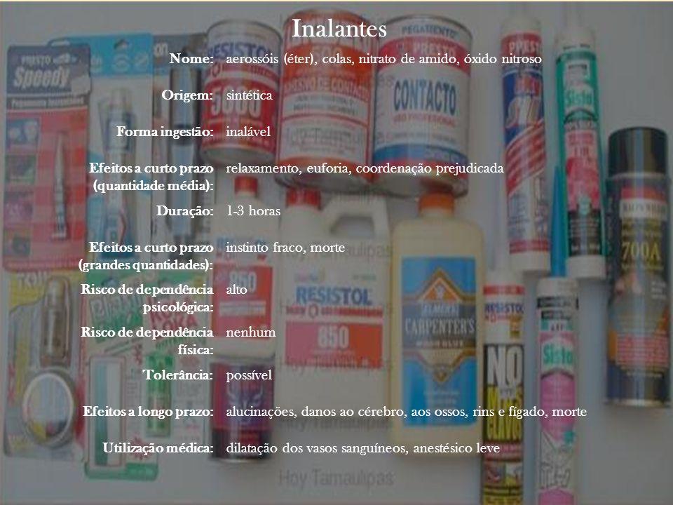 Inalantes Nome:aerossóis (éter), colas, nitrato de amido, óxido nitroso Origem:sintética Forma ingestão:inalável Efeitos a curto prazo (quantidade méd