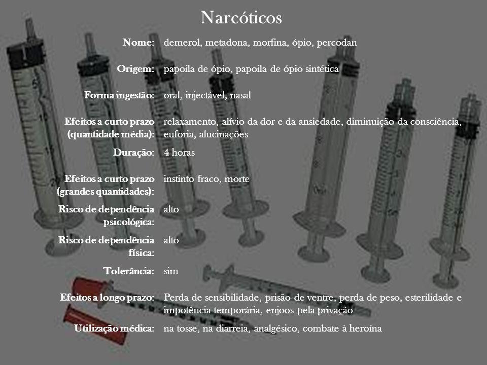 Narcóticos Nome:demerol, metadona, morfina, ópio, percodan Origem:papoila de ópio, papoila de ópio sintética Forma ingestão:oral, injectável, nasal Ef