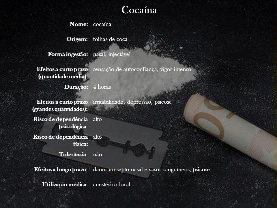 Cocaína Nome:cocaína Origem:folhas de coca Forma ingestão:nasal, injectável Efeitos a curto prazo (quantidade média): sensação de autoconfiança, vigor