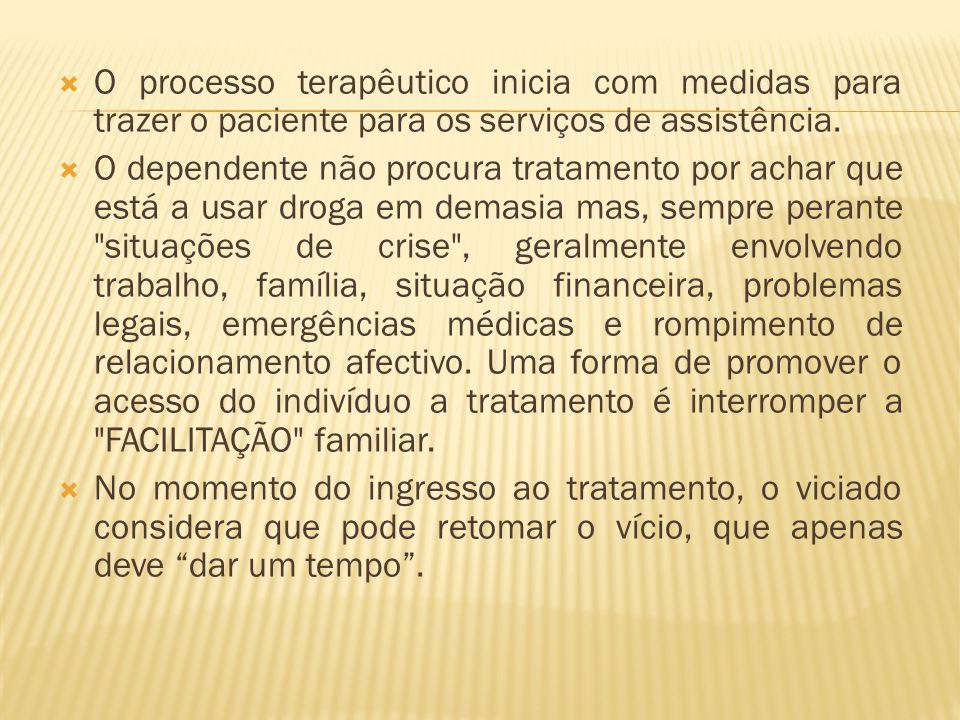 O processo terapêutico inicia com medidas para trazer o paciente para os serviços de assistência. O dependente não procura tratamento por achar que es