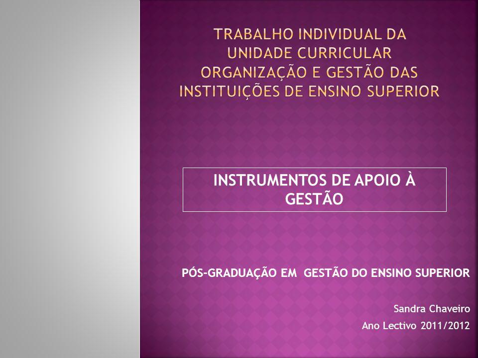 PÓS-GRADUAÇÃO EM GESTÃO DO ENSINO SUPERIOR Sandra Chaveiro Ano Lectivo 2011/2012 INSTRUMENTOS DE APOIO À GESTÃO