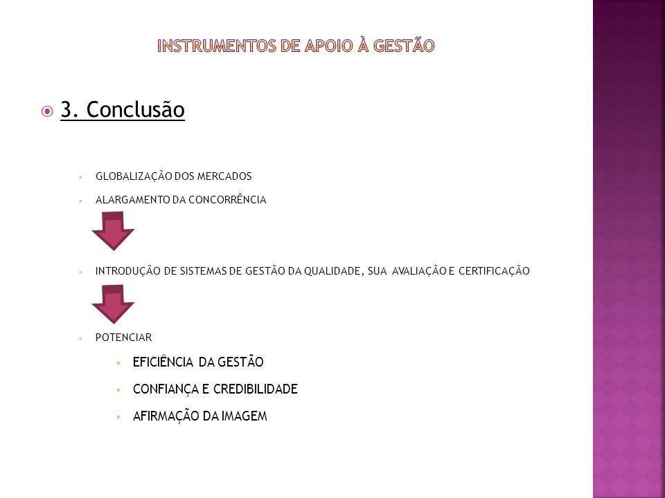 3. Conclusão GLOBALIZAÇÃO DOS MERCADOS ALARGAMENTO DA CONCORRÊNCIA INTRODUÇÃO DE SISTEMAS DE GESTÃO DA QUALIDADE, SUA AVALIAÇÃO E CERTIFICAÇÃO POTENCI