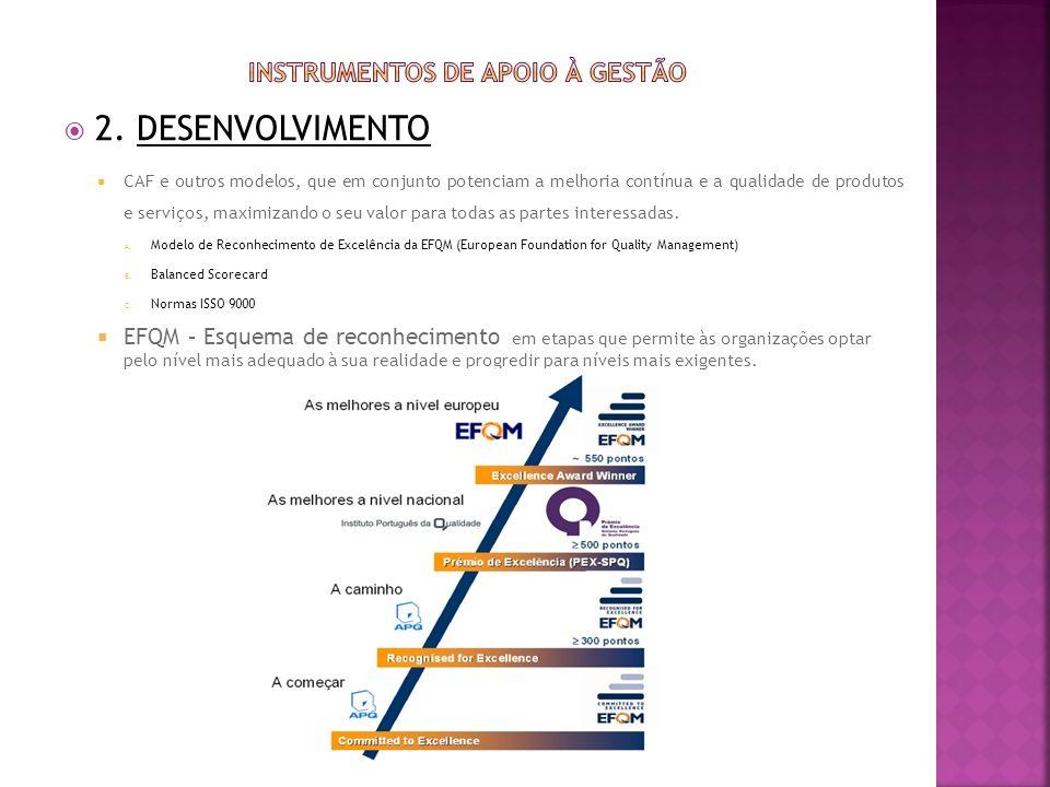 2. DESENVOLVIMENTO CAF e outros modelos, que em conjunto potenciam a melhoria contínua e a qualidade de produtos e serviços, maximizando o seu valor p