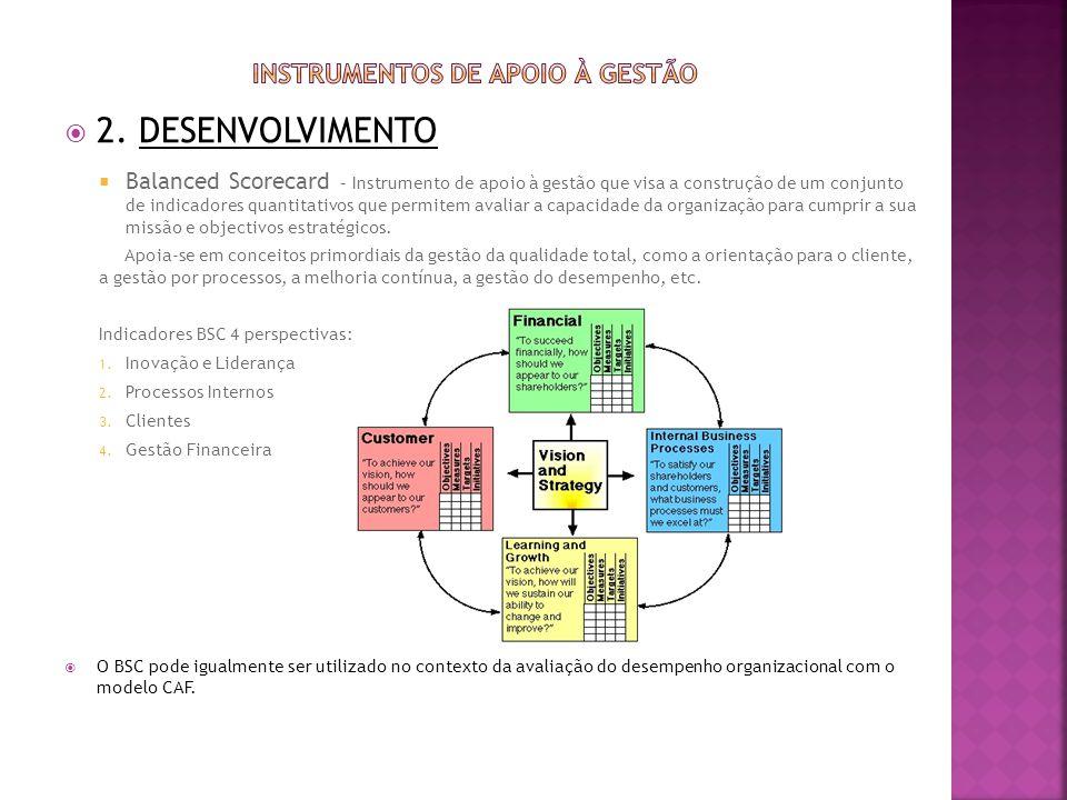 2. DESENVOLVIMENTO Balanced Scorecard – Instrumento de apoio à gestão que visa a construção de um conjunto de indicadores quantitativos que permitem a
