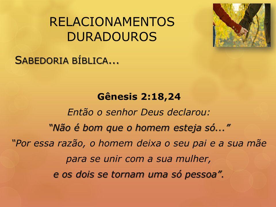 RELACIONAMENTOS DURADOUROS Gênesis 2:18,24 Então o senhor Deus declarou: Não é bom que o homem esteja só...