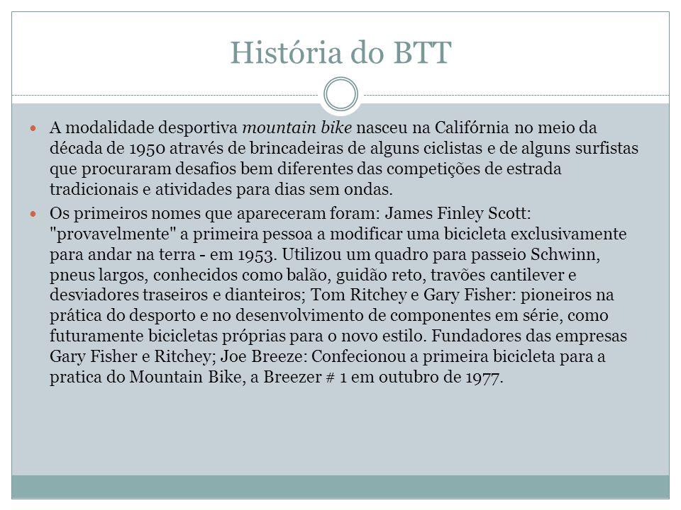 História do BTT A modalidade desportiva mountain bike nasceu na Califórnia no meio da década de 1950 através de brincadeiras de alguns ciclistas e de