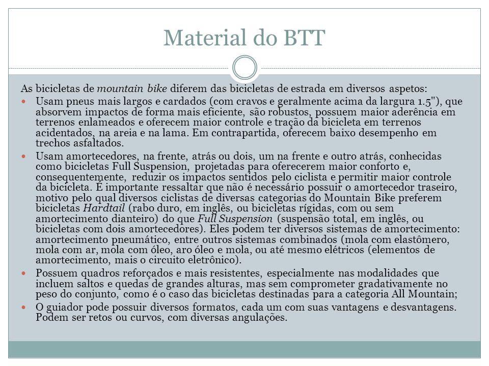 Material do BTT As bicicletas de mountain bike diferem das bicicletas de estrada em diversos aspetos: Usam pneus mais largos e cardados (com cravos e