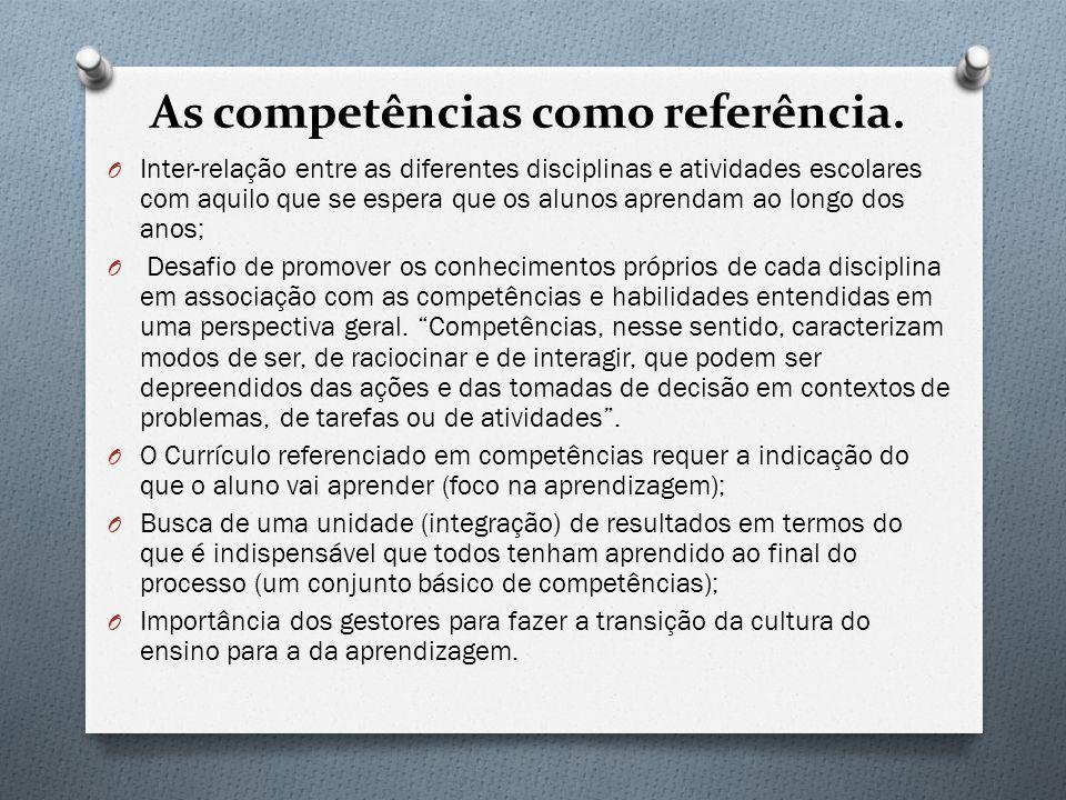 As competências como referência.