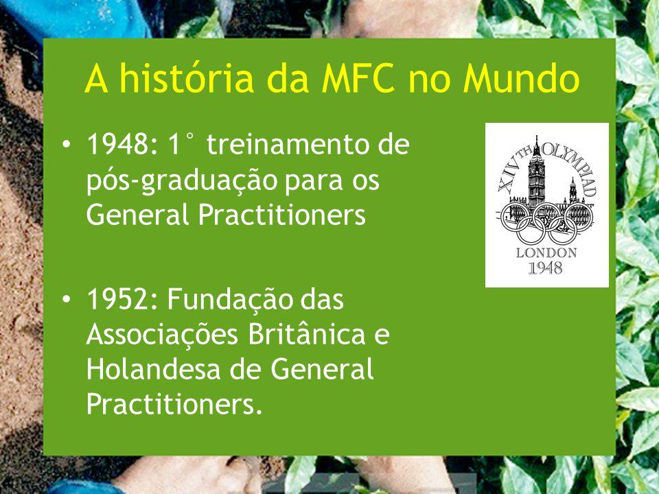 A história da MFC no Mundo 1948: 1° treinamento de pós-graduação para os General Practitioners 1952: Fundação das Associações Britânica e Holandesa de General Practitioners.