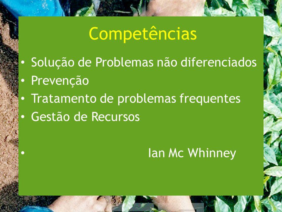 Competências Solução de Problemas não diferenciados Prevenção Tratamento de problemas frequentes Gestão de Recursos Ian Mc Whinney
