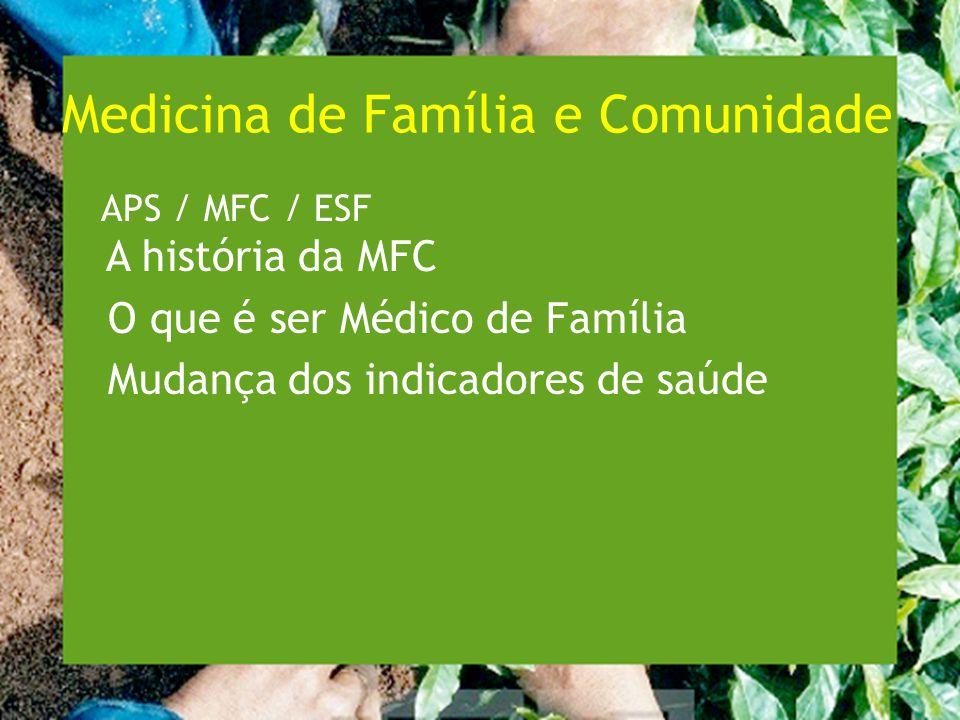 A história da MFC no Brasil 1976-1981 Medicina Comunitária, Medicina Social, Medicina Integral 1978 Seminário da ABEM: Médico de Família ou Clínico Geral 1981: CNRM: aceita a Medicina Geral e Comunitária 1986: CFM aceita a Medicina Geral e Comunitária 1991: criação do PACS.