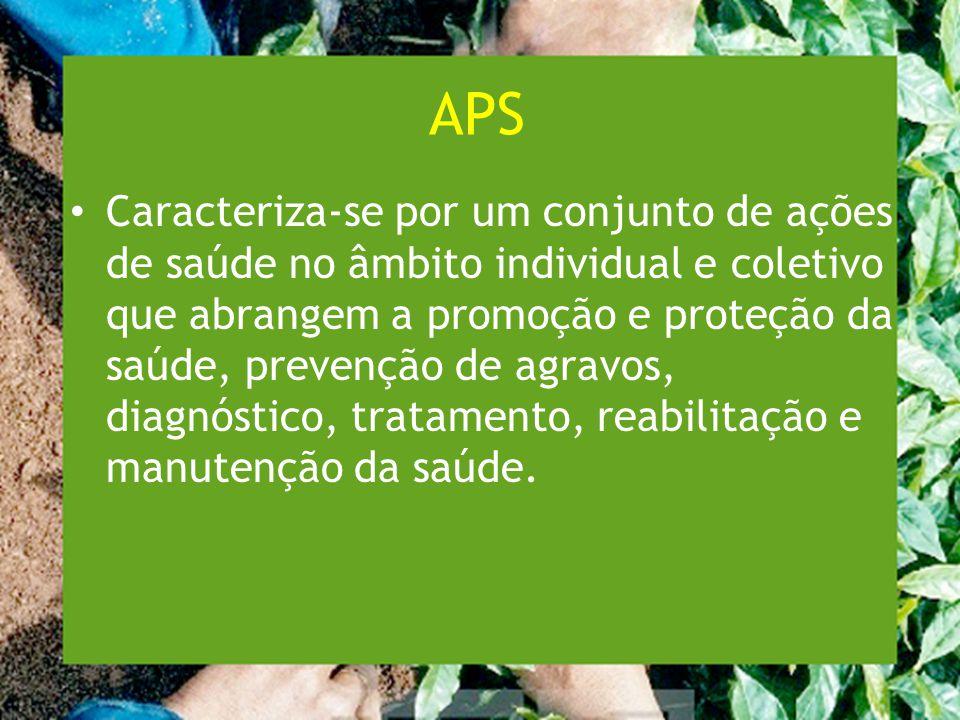 APS Caracteriza-se por um conjunto de ações de saúde no âmbito individual e coletivo que abrangem a promoção e proteção da saúde, prevenção de agravos, diagnóstico, tratamento, reabilitação e manutenção da saúde.