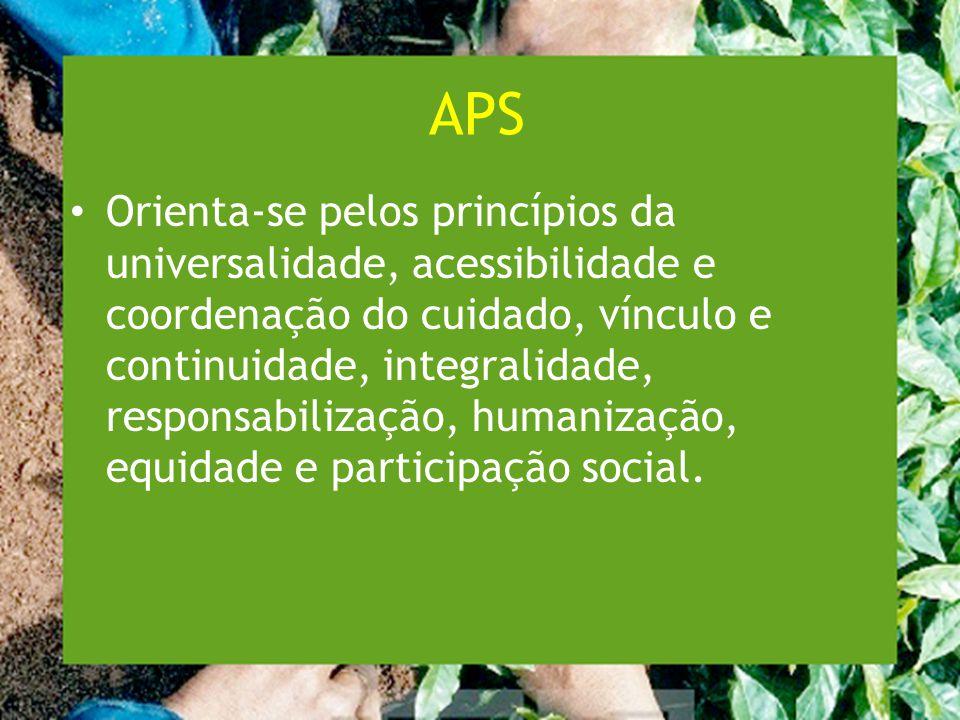 APS Orienta-se pelos princípios da universalidade, acessibilidade e coordenação do cuidado, vínculo e continuidade, integralidade, responsabilização, humanização, equidade e participação social.