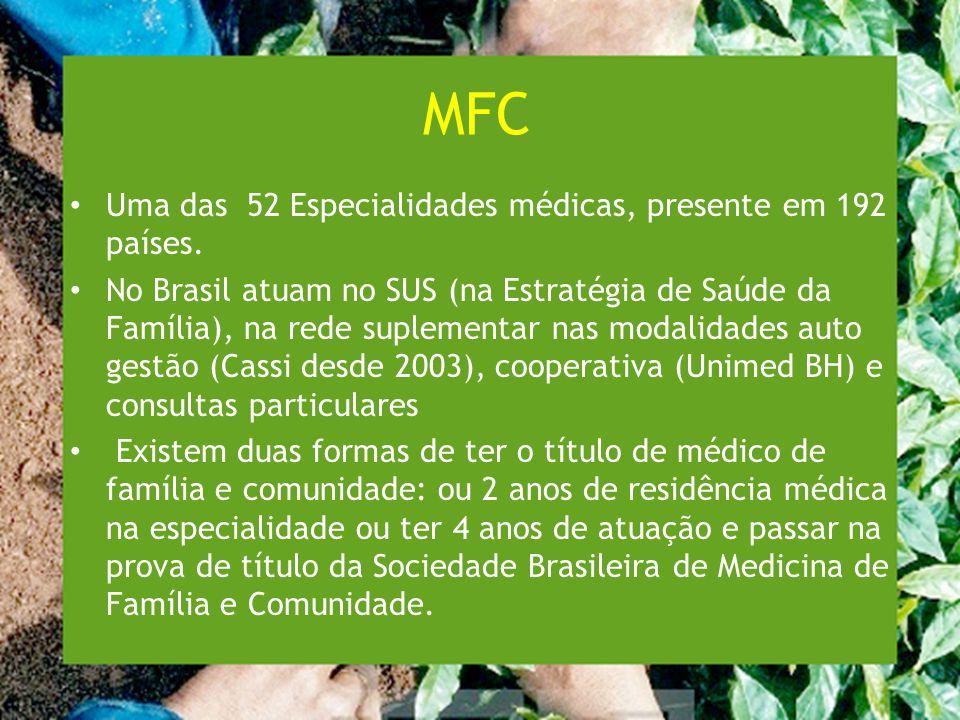 MFC Uma das 52 Especialidades médicas, presente em 192 países.