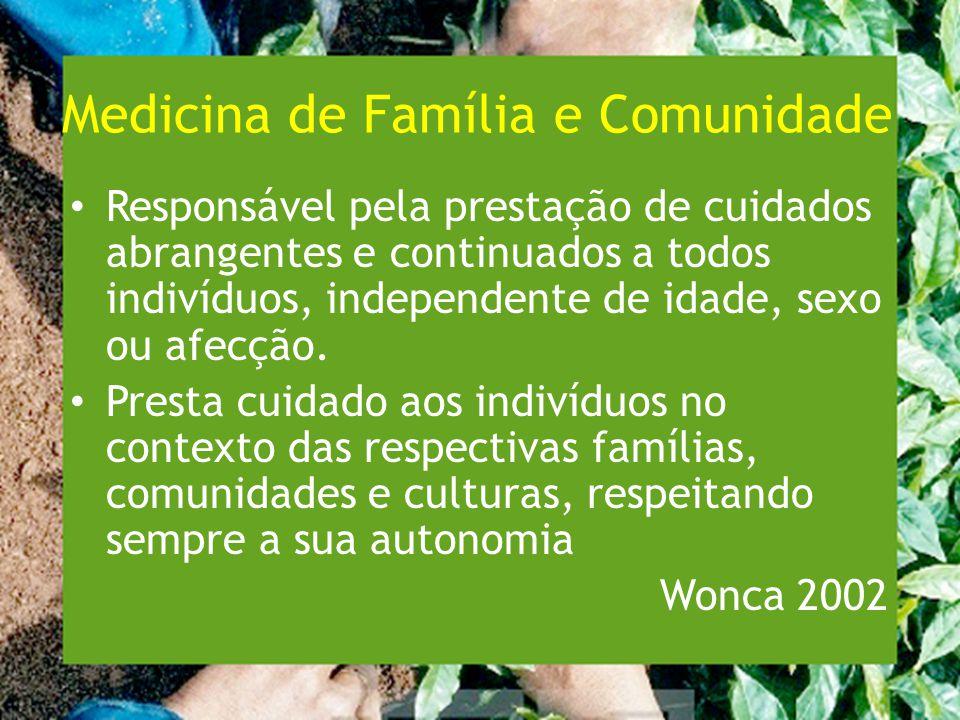 Medicina de Família e Comunidade Responsável pela prestação de cuidados abrangentes e continuados a todos indivíduos, independente de idade, sexo ou afecção.