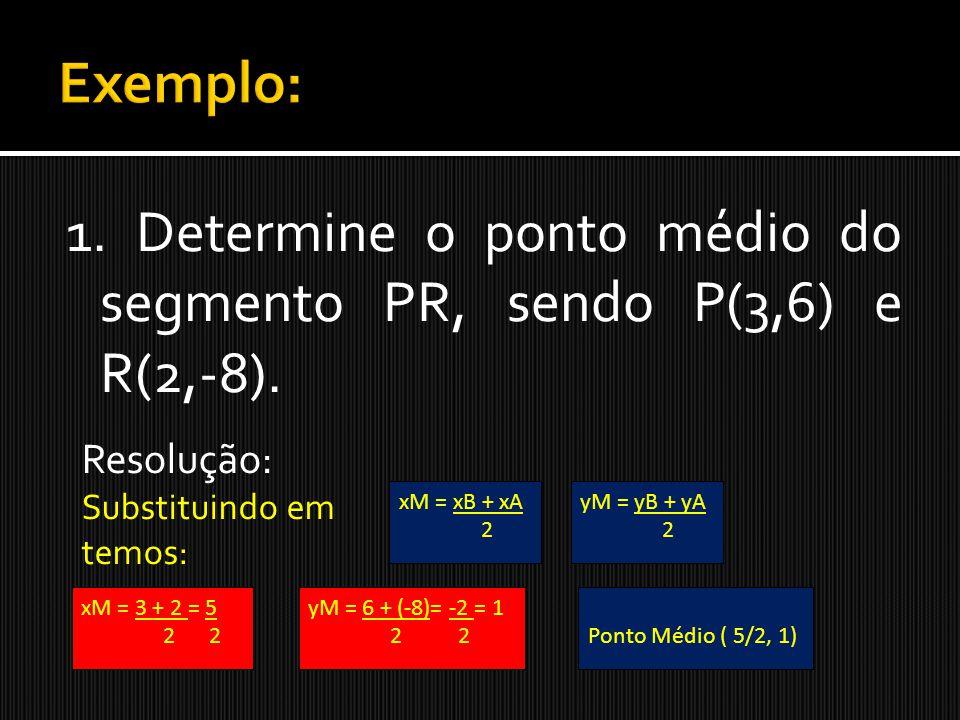 1. Determine o ponto médio do segmento PR, sendo P(3,6) e R(2,-8). Resolução: Substituindo em temos: xM = xB + xA 2 yM = yB + yA 2 yM = 6 + (-8)= -2 =