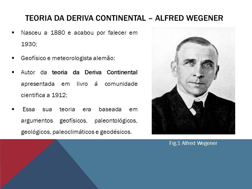 TEORIA DA DERIVA CONTINENTAL – ALFRED WEGENER Nasceu a 1880 e acabou por falecer em 1930; Geofísico e meteorologista alemão; Autor da teoria da Deriva