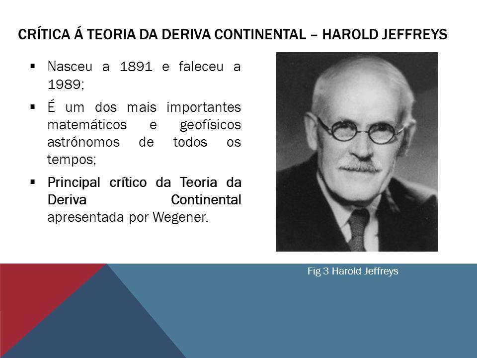 CRÍTICA Á TEORIA DA DERIVA CONTINENTAL – HAROLD JEFFREYS Nasceu a 1891 e faleceu a 1989; É um dos mais importantes matemáticos e geofísicos astrónomos de todos os tempos; Principal crítico da Teoria da Deriva Continental apresentada por Wegener.