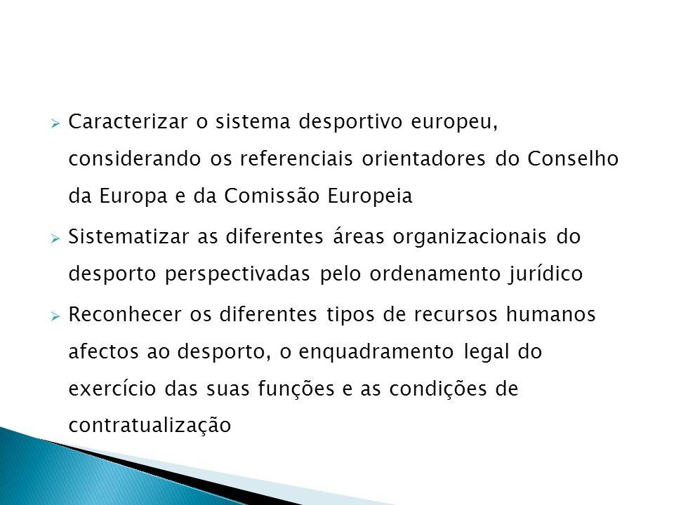 Caracterizar o sistema desportivo europeu, considerando os referenciais orientadores do Conselho da Europa e da Comissão Europeia Sistematizar as dife