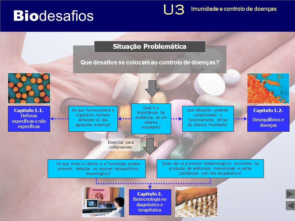 Biodesafios 12 Que desafios se colocam ao controlo de doenças? Situação Problemática Qual é a importância da existência de um sistema Imunitário? Capí