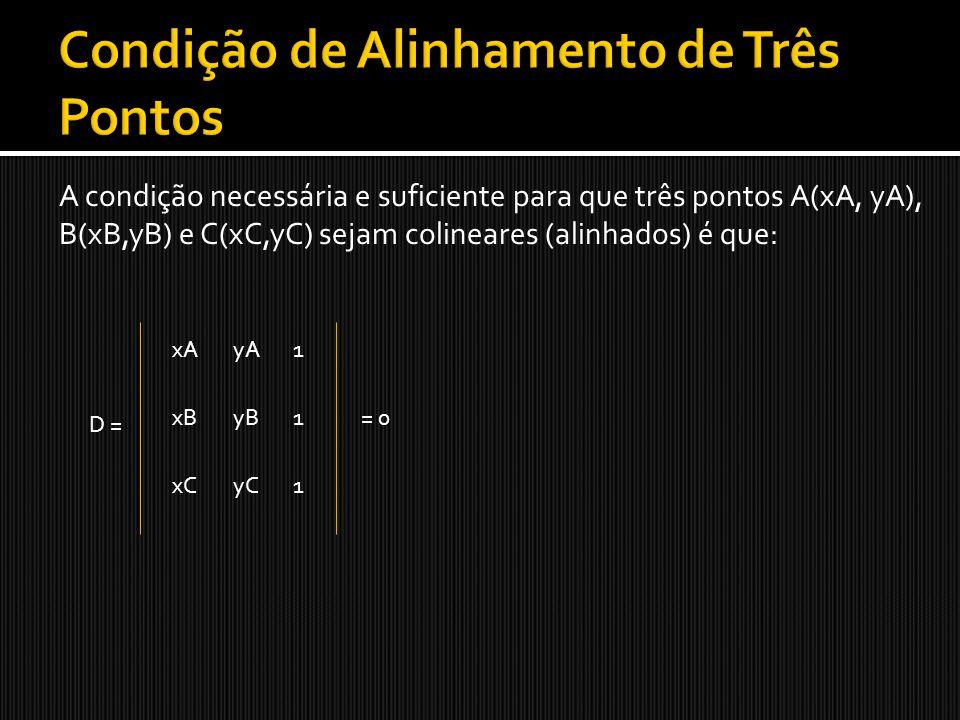 A condição necessária e suficiente para que três pontos A(xA, yA), B(xB,yB) e C(xC,yC) sejam colineares (alinhados) é que: D = xA1yA yBxB xC 1 1yC = 0