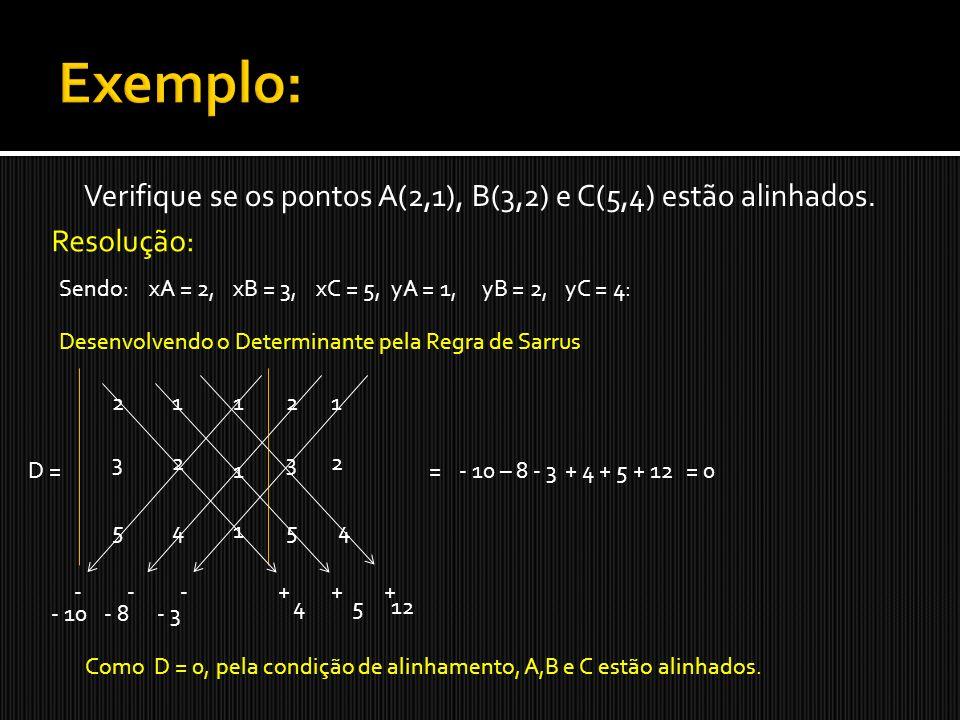 Verifique se os pontos A(2,1), B(3,2) e C(5,4) estão alinhados.