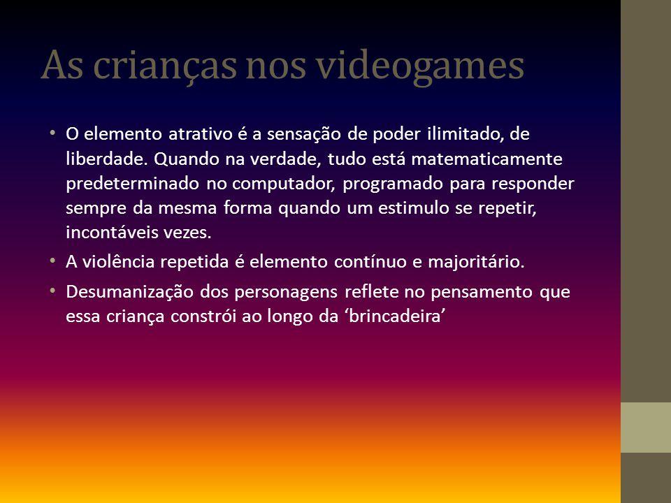 As crianças nos videogames O elemento atrativo é a sensação de poder ilimitado, de liberdade.